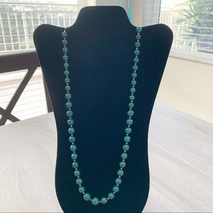 BOGO Long Strand Necklace of Teal Faux Pearls